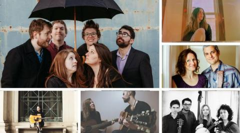 Images of musical groups Noble Dust, Rachel Sumner, The Promise Is Hope, Matt and Shannon Heaton, and the Electric Heaters, who will be performing on select Fridays through summer 2018.