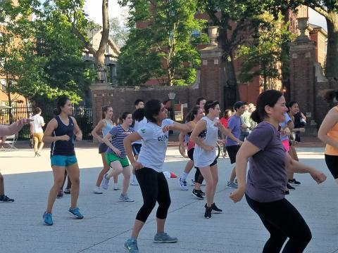 People dancing on the Plaza during a Zumba class